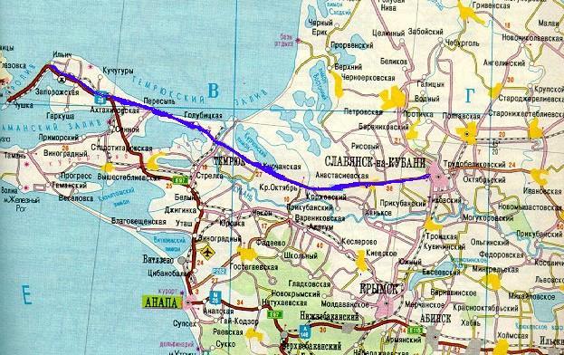 Карта Таманского полуострова
